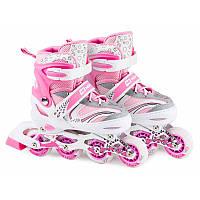 Роликовые коньки 3в1 Hop-Sport HS-8101 Speed М (размер 34-38) розовые