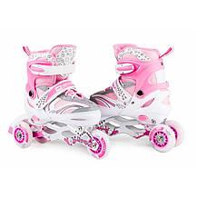 Роликові ковзани 3в1 Hop-Sport HS-8101 Speed М (розмір 34-38) рожеві, фото 3