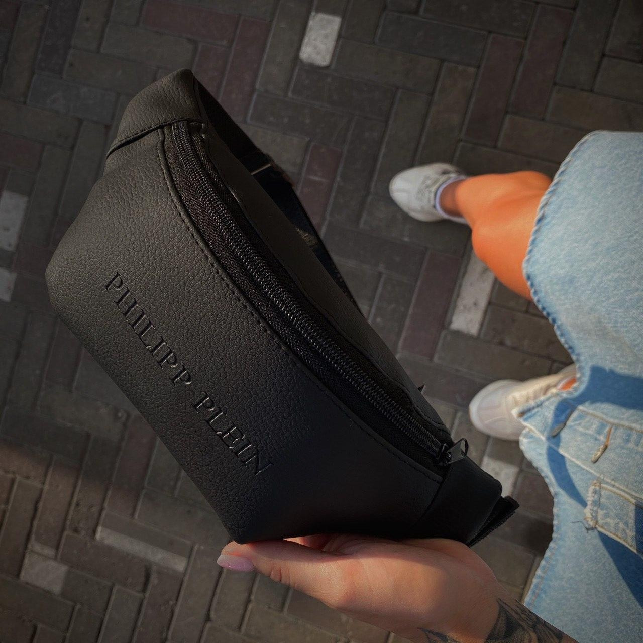Бананка Мужская   Женская Philipp Plein черная black сумка на пояс с логотипом