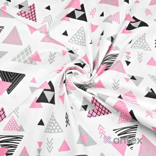 Бязь Треугольники розовые, черные