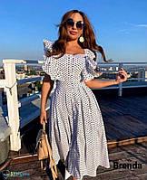 Женское платье летнее в горох белое с воланами