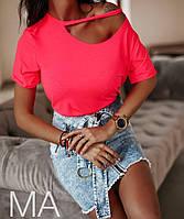 Женская футболка с хб, хорошего качества Турция, с вырезом на плече(42-46), фото 1