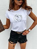 Женская футболка с хлопка, в принт,Турция(42-46), фото 1