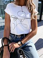 Женская футболка с хлопка, в принт,Турция(48-50), фото 1