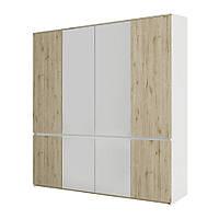 Шкаф распашной в спальню, в прихожую из ДСП Лаура 4Д Сокме дуб веллингтон/белый без зеркал