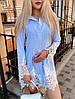 Стильное льняное платье рубашка с натуральным кружевом(42-46)