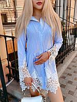 Стильное льняное платье рубашка с натуральным кружевом(42-46), фото 1