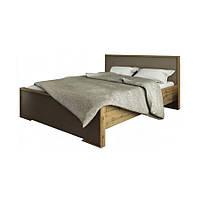 Кровать двуспальная из ДСП 160*200 Франческа Сокме дуб вотан/латте с основанием под матрас