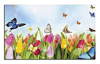 "Картина на холсте ""Бабочки и тюльпаны"""