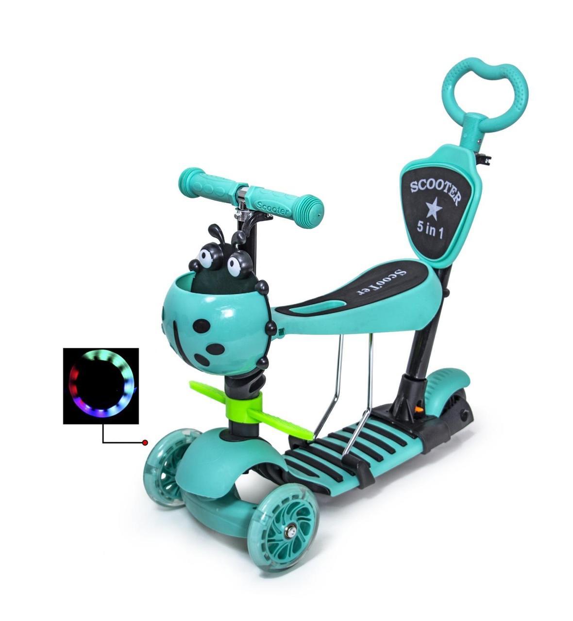 """Самокат Scooter """"Божья Коровка"""" 5в1. Tiffany. Светящиеся колеса!"""