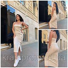 Летнее льняное платье-сарафан на пуговицах M