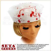 Шапочка кровавая на Хэллоуин (медицинская белая)
