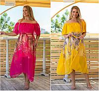 Р 48-62 Летнее нарядное шифоновое платье с открытыми плечами Батал 21925, фото 1