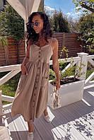 Стильное женское платье-халат на бретельках с карманами из ткани диагонали(42-46), фото 1