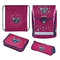 50025664 Ранець шкільний укомплектований Herlitz MIDI PLUS Heart вишивка