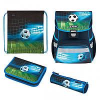 50025756 Ранец школьный укомплектованный Herlitz LOOP PLUS Soccer резиновая 3D-аппликация, фото 1
