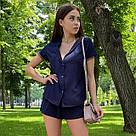 Річний модний костюм футболка+шорти темно-синій, фото 3