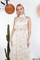 Женское летнее платье макси с принтом из шелка армани (42-46), фото 1