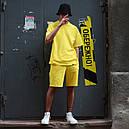 Летний комплект: жёлтая футболка мужская Quil (Квил)+ жёлтые шорты мужские  Duncan (Дункан) S, M, L, XL, фото 3