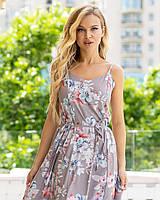 Женское летнее платье сарафан из софта с цветочным принтом и пояском (42-46)