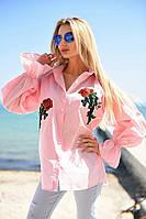 Стильная женская коттоновая рубашка с вышивкой и рукавами фонариками(42-46), фото 1