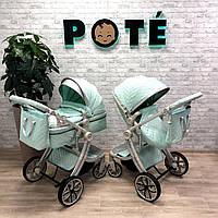 Детская коляска 2в1 POTÉ бирюзовая  Бесплатная доставка