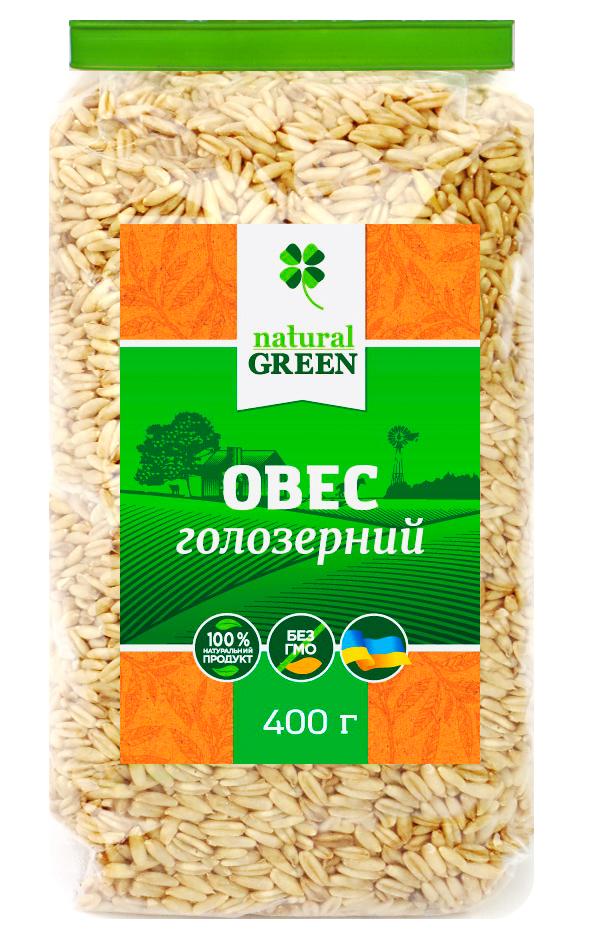 Овес голозёрный, 400 г, NATURAL GREEN
