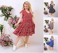 Р 42-52 Натуральное летнее платье с пышной юбкой Батал 21927-1, фото 1
