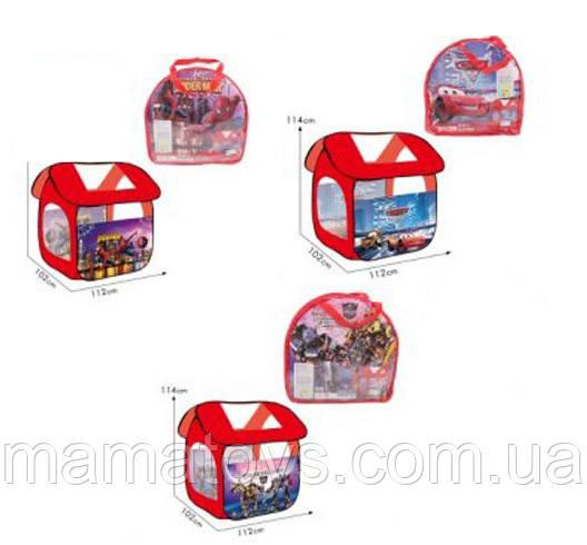 Детская Палатка домик, 8009 SP/TF/PN/C Тачки - Человек паук - Трансформеры Размер 112*102*114 см