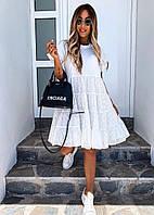 Женское летнее платье трапеция из прошвы (с-л)