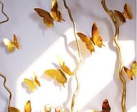 """Наклейка на стену, пластиковые наклейки, украшения стены наклейки """"бабочки золотые зеркальные 12шт набор"""""""