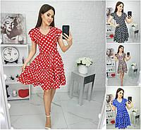 Р 42-52 Натуральне літнє плаття з пишною спідницею 21927, фото 1