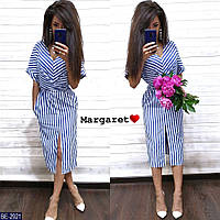 Стильное деловое летнее женское платье в полоску по фигуре арт 2922