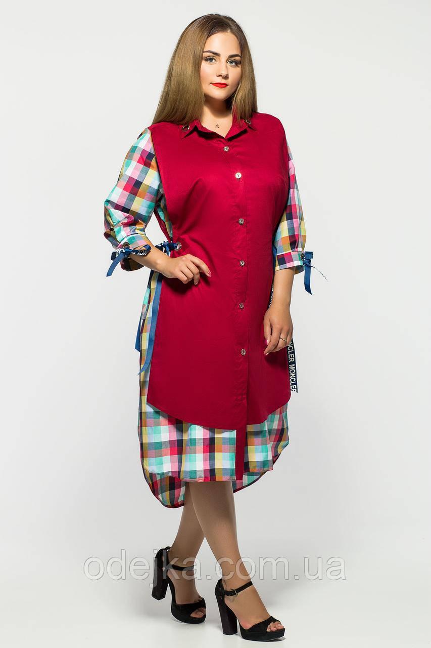 Сукня жіноча Євгена бордо клітина разноцвет