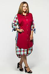 Платье женское Евгения бордо клетка разноцвет