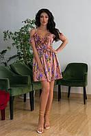 Женское платье сарафан с декольте и принтом (42-52), фото 1