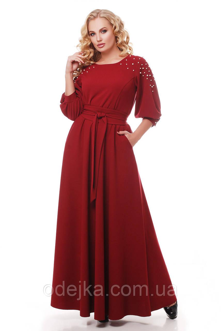 Шикарное платье в пол Вивьен бордо