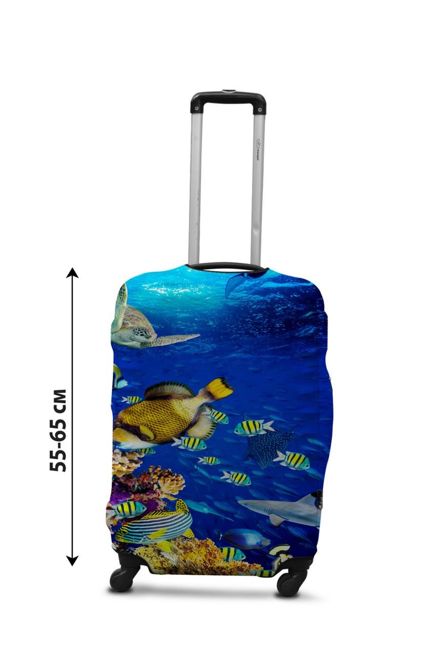 Чехол для чемодана Coverbag рыбки М принт  0430