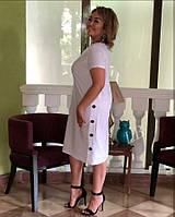 Светлое летнее льняное платье батал