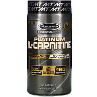 L-carnitine MuscleTech Platinum, 180 капсул, жиросжигатель, л-карнитин