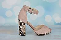 Розовые замшевые босоножки на каблуке Molka