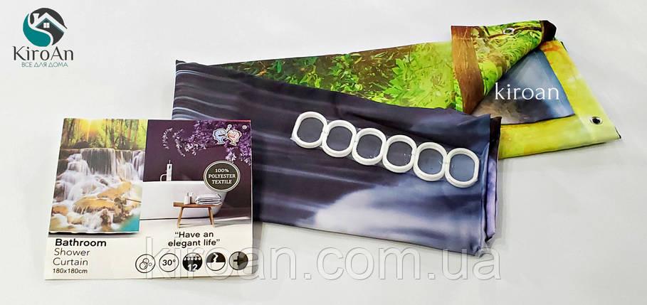 """Тканевая штора для ванной с фотопринтом (полиестер, яркий фотопринт) 180х180 см """"Водопады в живописном лесу"""", фото 2"""