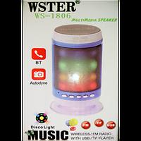 Колонка WSTER WS-1806 Cо светомузыкой Bluetooth Сьёмный акумулятор