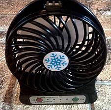 Вентилятор настольный \ портативный Mini Fan  с аккумулятором 18650, Черный (живые фото), фото 2