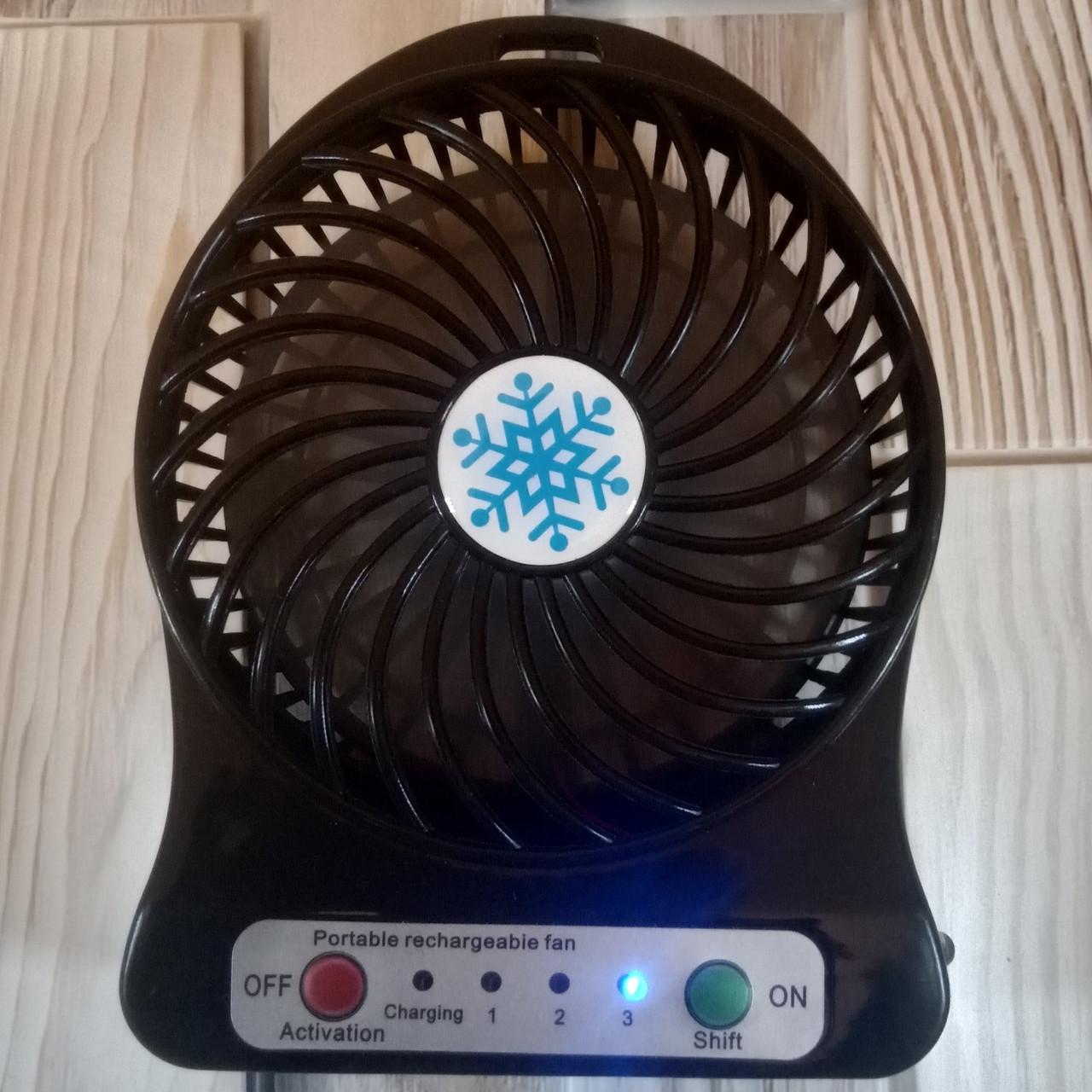 Портативный мини вентилятор mini fan с аккумулятором Черный (Оригинальные фото)