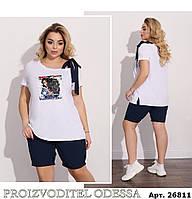 Женский костюм шорты,футболка на одно плечо (48-58), фото 1