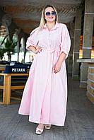 Женское длинное однотонное платье на пуговицах и регулируемыми рукавами с поясом тканевым и карманами(46-64), фото 1