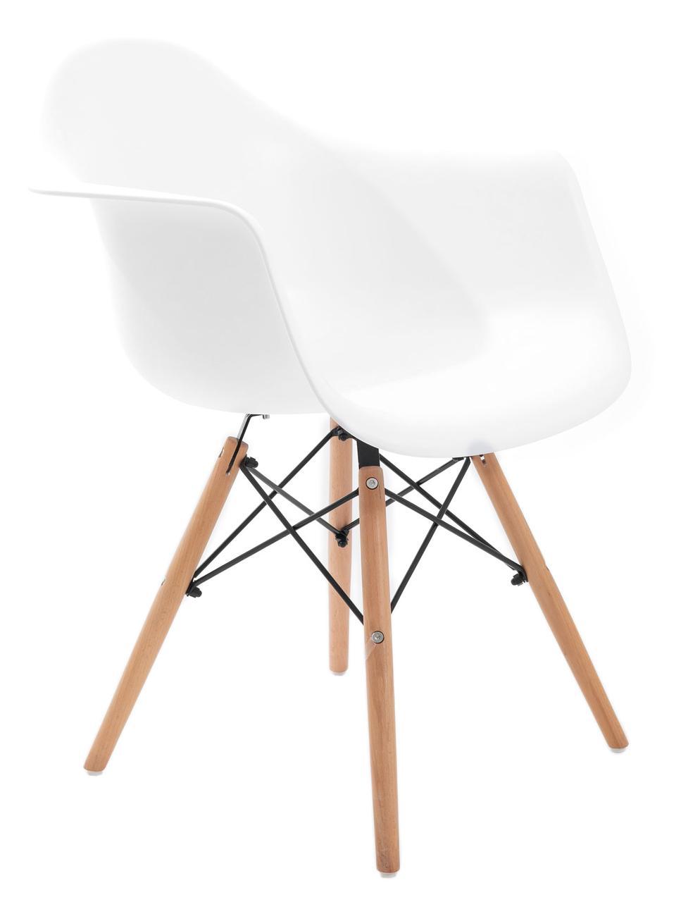 Кресло Жаклин Арт (пластиковое Белое с деревянными ногами)