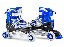 Роликовые коньки 3в1 Hop-Sport HS-8101 Speed S (размер 30-33) синие, фото 3