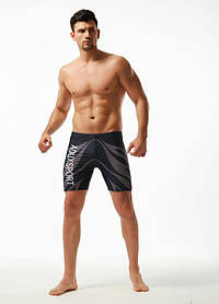 Удлиненные плавки боксеры AQUX темно-синего цвета, Сетка, чоловічі шорти для плавання, купання сині
